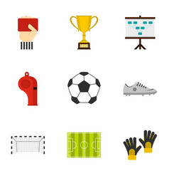 Football championship icons set flat style vector