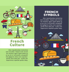 french culture and symbols travel agency brochures vector image