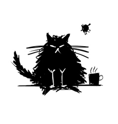 Funny cat black silhouette Sketch for your design vector