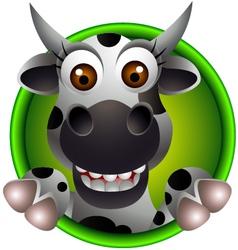 Funny head cow cartoon vector