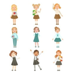 Girls Wearing An Assortment Of Classy School vector