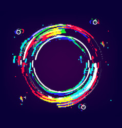 glitch ring with distortion and noise vhs effect vector image