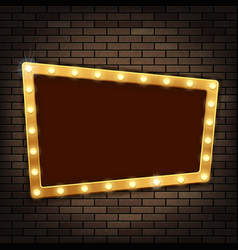 gold frame with light bulbs on the red brick wall vector image