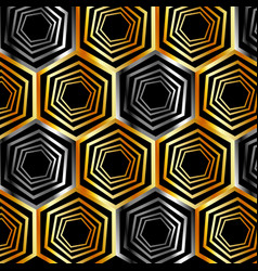 golden and silver hexagonal background vector image