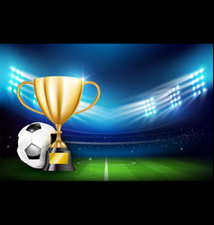 golden trophy cups and soccer ball 001 vector image