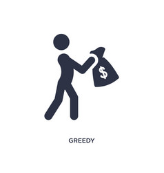 Greedy icon on white background simple element vector