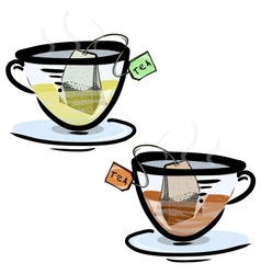 Green and black tea in glass cups vector image