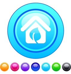 Green home circle button vector image