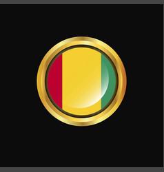 Guinea flag golden button vector
