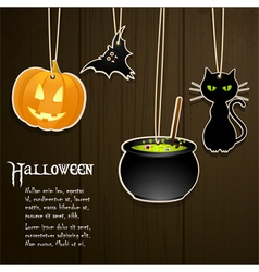 Halloween labels on wood vector