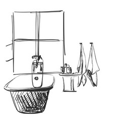 hand drawn bathroom home furniture interior vector image