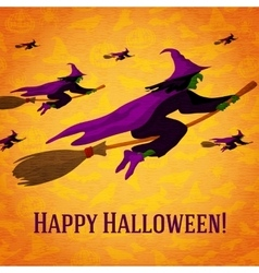 Happy halloween greeting card with horde of vector image