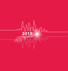happy new year 2019 with with an abstract city vector image