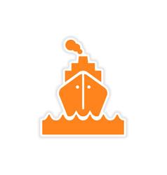 Icon sticker realistic design on paper sea ship vector