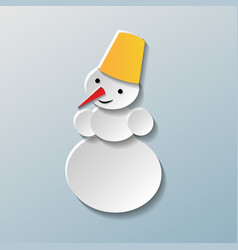image of a snowman in paper style on grey vector image