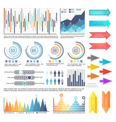 Infographics with arrowheads charts information vector