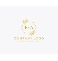 Initial ea letters decorative luxury wedding logo vector