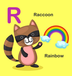 Isolated animal alphabet letter r-rainbow raccoon vector