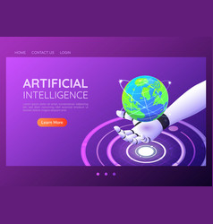 isometric web banner ai robotic hand holding vector image