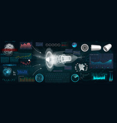 Jet engine 3d isometric airplane in hud style vector