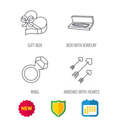 Jewelry gift box and wedding ring icons vector
