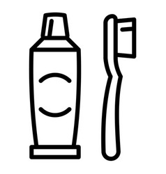 Kid toothbrush toothpaste icon outline style vector