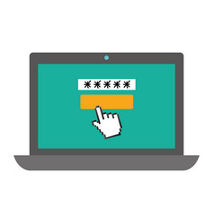 laptop with password access vector image