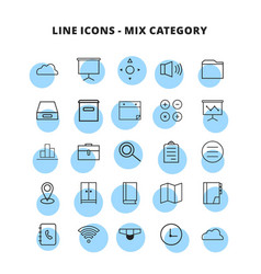 line mix icons set vector image
