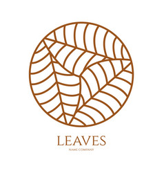 Linear icon of landscape with three leaves in vector