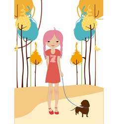 little young girl walking with the dog vector image