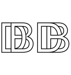 Logo bd db icon sign two interlaced letters b d vector