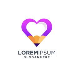 Love pen logo design vector