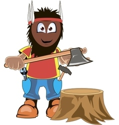 LumberJack Holding Axe Cartoon vector image