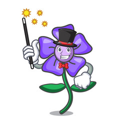 Magician periwinkle flower mascot cartoon vector