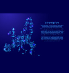 Map european union from printed board chip and vector