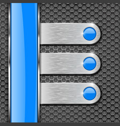 Metal perforated background with steel plates and vector