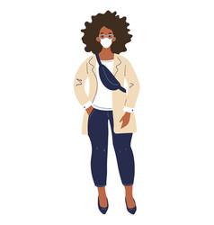 Modern african american girl student standing vector