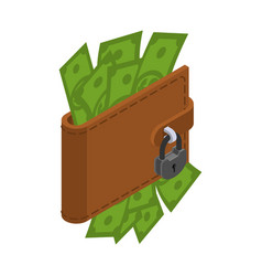 Money is protected wallet with cash and padlock vector