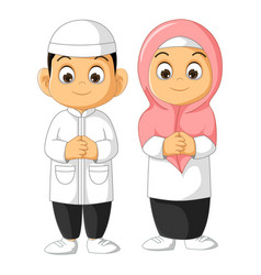 Muslim couple people cartoon isolated vector