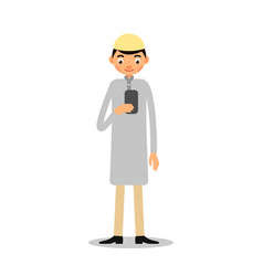 muslim with phone young muslim man stands and vector image