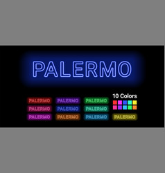 Neon name of palermo city vector
