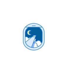 Night flight icon Airplane window view vector image