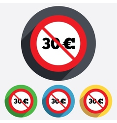 No 30 Euro sign icon EUR currency symbol vector image