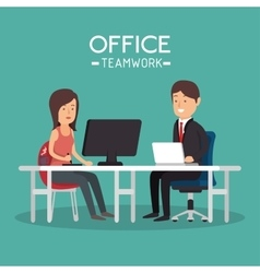 office teamwork woman and man working pc vector image