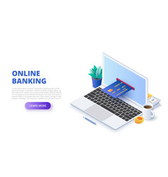 online banking withlaptop and credit card vector image
