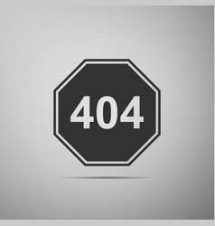 Page with a 404 error icon on grey background vector