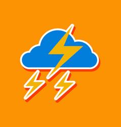 paper sticker on stylish background of lightning vector image