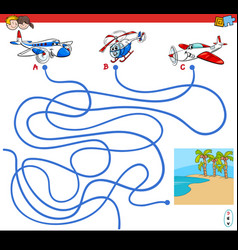 Paths maze game with aircraft characters vector