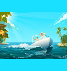 People on boat in ocean of vector