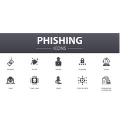 Phishing simple concept icons set contains such vector